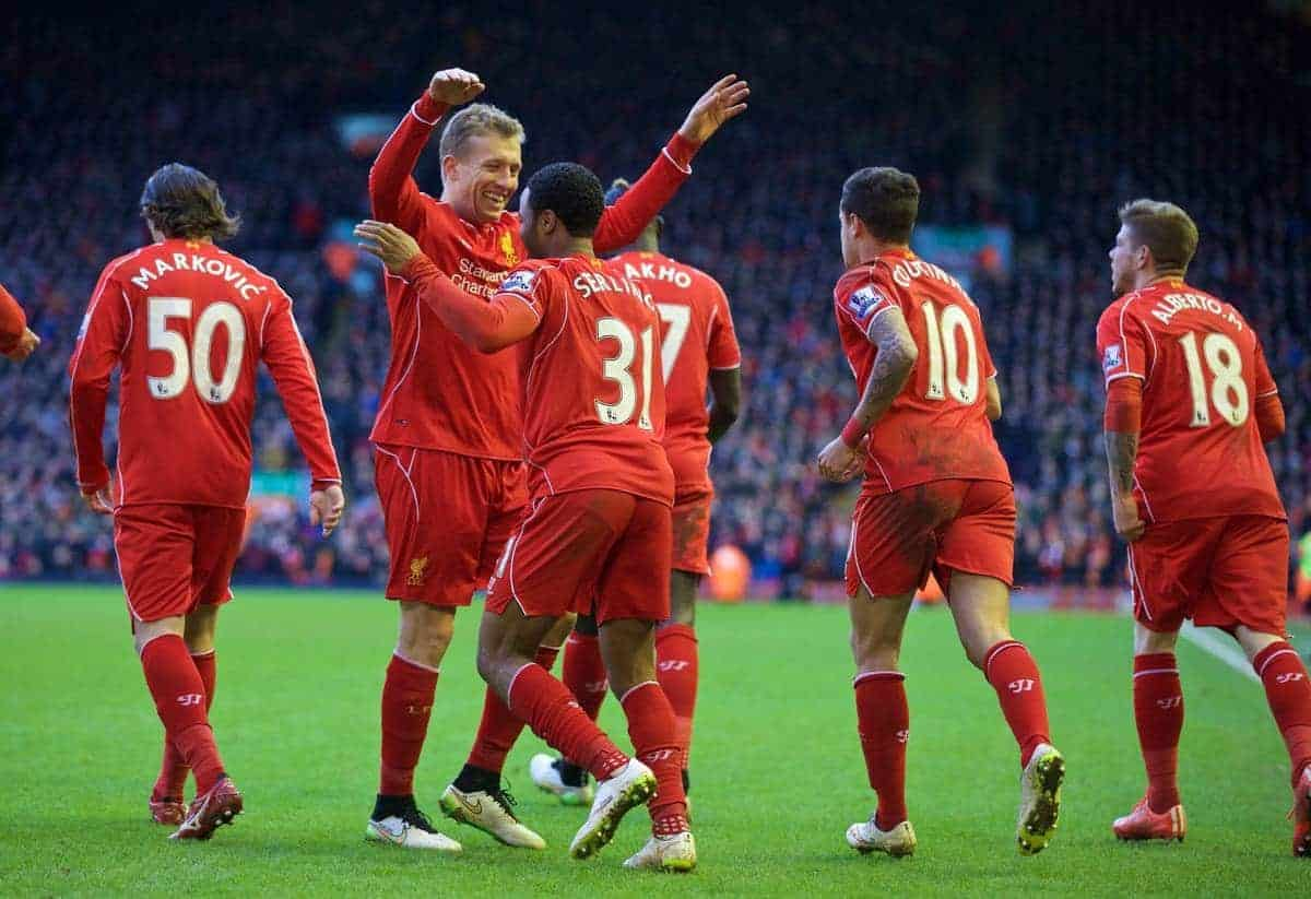 LIVERPOOL, ENGLAND - Saturday, January 31, 2015: Liverpool's celebrates scoring the first goal against West Ham United during the Premier League match at Anfield. (Pic by David Rawcliffe/Propaganda)