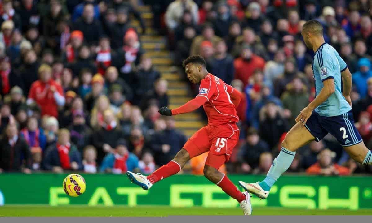 LIVERPOOL, ENGLAND - Saturday, January 31, 2015: Liverpool's Daniel Sturridge scores the second goal against West Ham United during the Premier League match at Anfield. (Pic by David Rawcliffe/Propaganda)