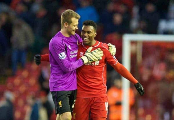 LIVERPOOL, ENGLAND - Saturday, January 31, 2015: Liverpool's goalkeeper Simon Mignolet and goal-scorer Daniel Sturridge celebrate after the 2-0 victory over West Ham United during the Premier League match at Anfield. (Pic by David Rawcliffe/Propaganda)