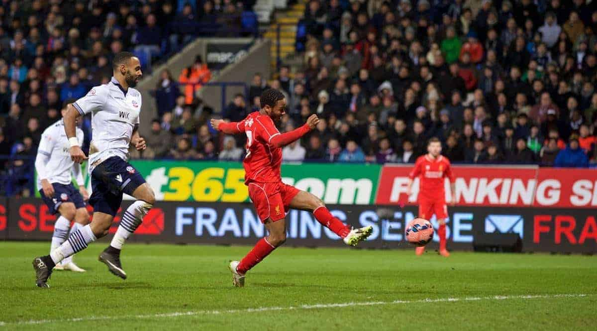 BOLTON, ENGLAND - Wednesday, February 4, 2015: Liverpool's Raheem Sterling scores the first goal against Bolton Wanderers during the FA Cup 4th Round Replay match at the Reebok Stadium. (Pic by David Rawcliffe/Propaganda)