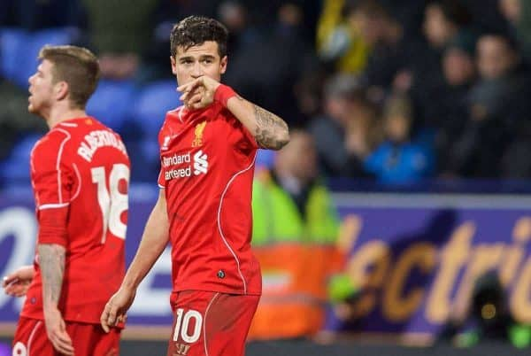 Liverpool's Philippe Coutinho Correia celebrates scoring the winning second goal in injury time against Bolton Wanderers during the FA Cup 4th Round Replay match at the Reebok Stadium. (Pic by David Rawcliffe/Propaganda)