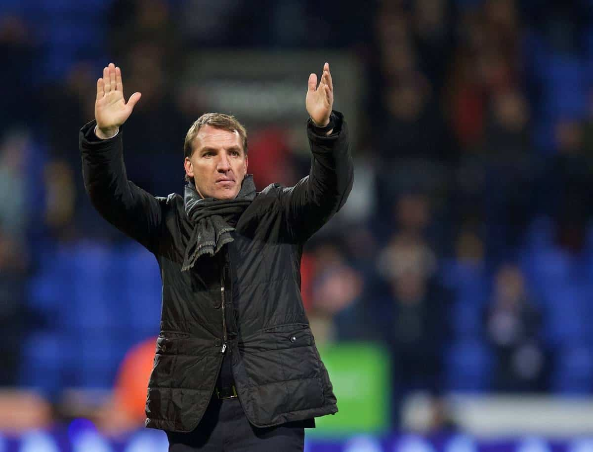 BOLTON, ENGLAND - Wednesday, February 4, 2015: Liverpool's manager Brendan Rodgers celebrates after a 2-1 victory over Bolton Wanderers during the FA Cup 4th Round Replay match at the Reebok Stadium. (Pic by David Rawcliffe/Propaganda)