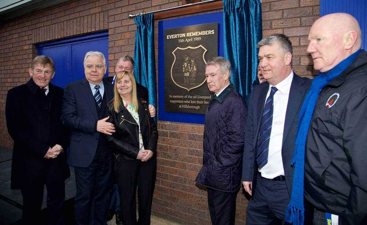 LIVERPOOL, ENGLAND - Friday, February 6, 2015: Hillsborough campaigner Margaret Aspinall CBE and Everton's chairman and owner Bill Kenwright unveil a memorial to the victims of the Hillsborough Stadium Disaster, before the Premier League match between Liverpool and Everton at Goodison Park, the 224th Merseyside Derby. non-executive director Kenny Dalglish, Colin Harvey, Ian Snodin, Steven Kelly. (Pic by David Rawcliffe/Propaganda)