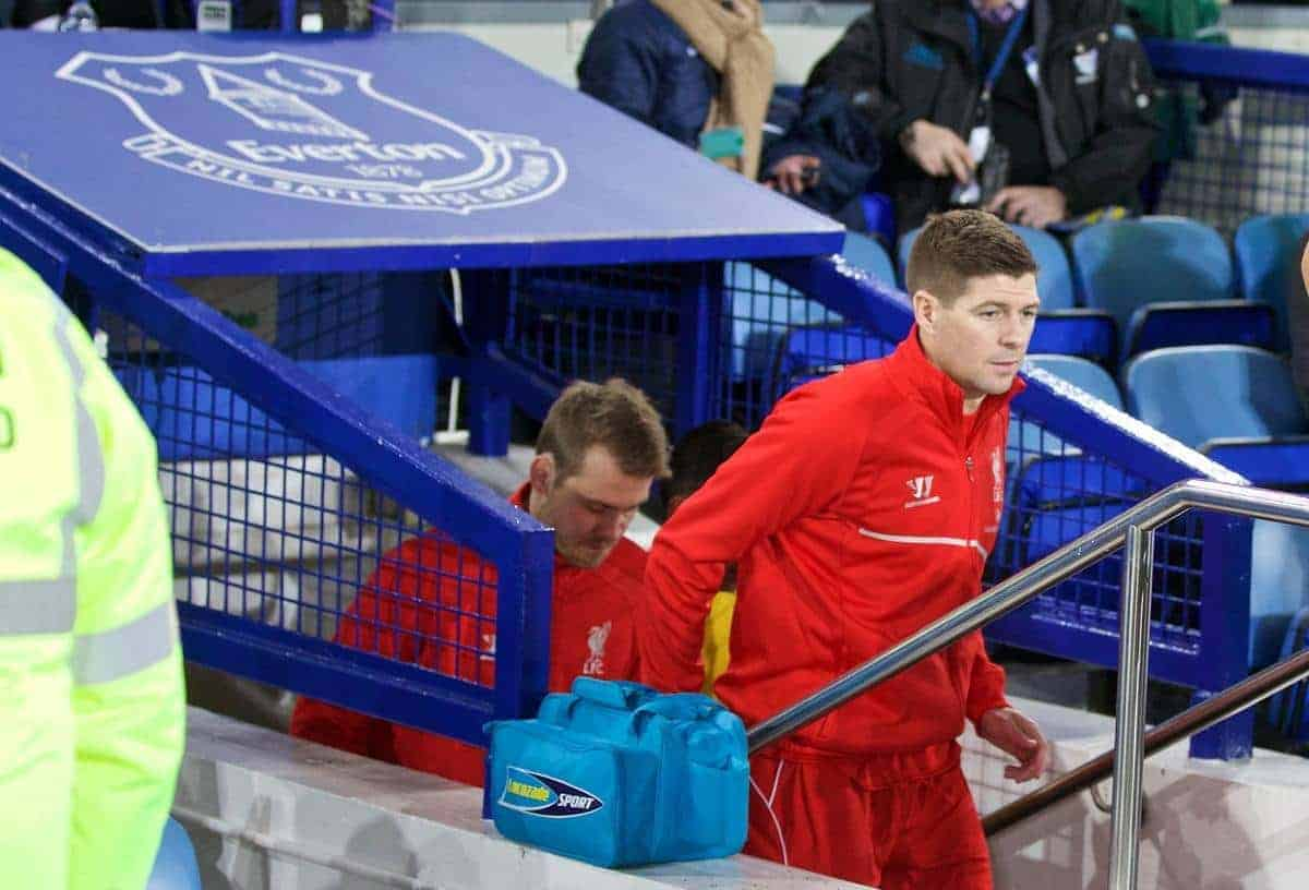 LIVERPOOL, ENGLAND - Friday, February 6, 2015: Liverpool's captain Steven Gerrard leads his side out for his last ever Merseyside Derby during the Premier League match against Everton at Goodison Park, the 224th Merseyside Derby. (Pic by David Rawcliffe/Propaganda)