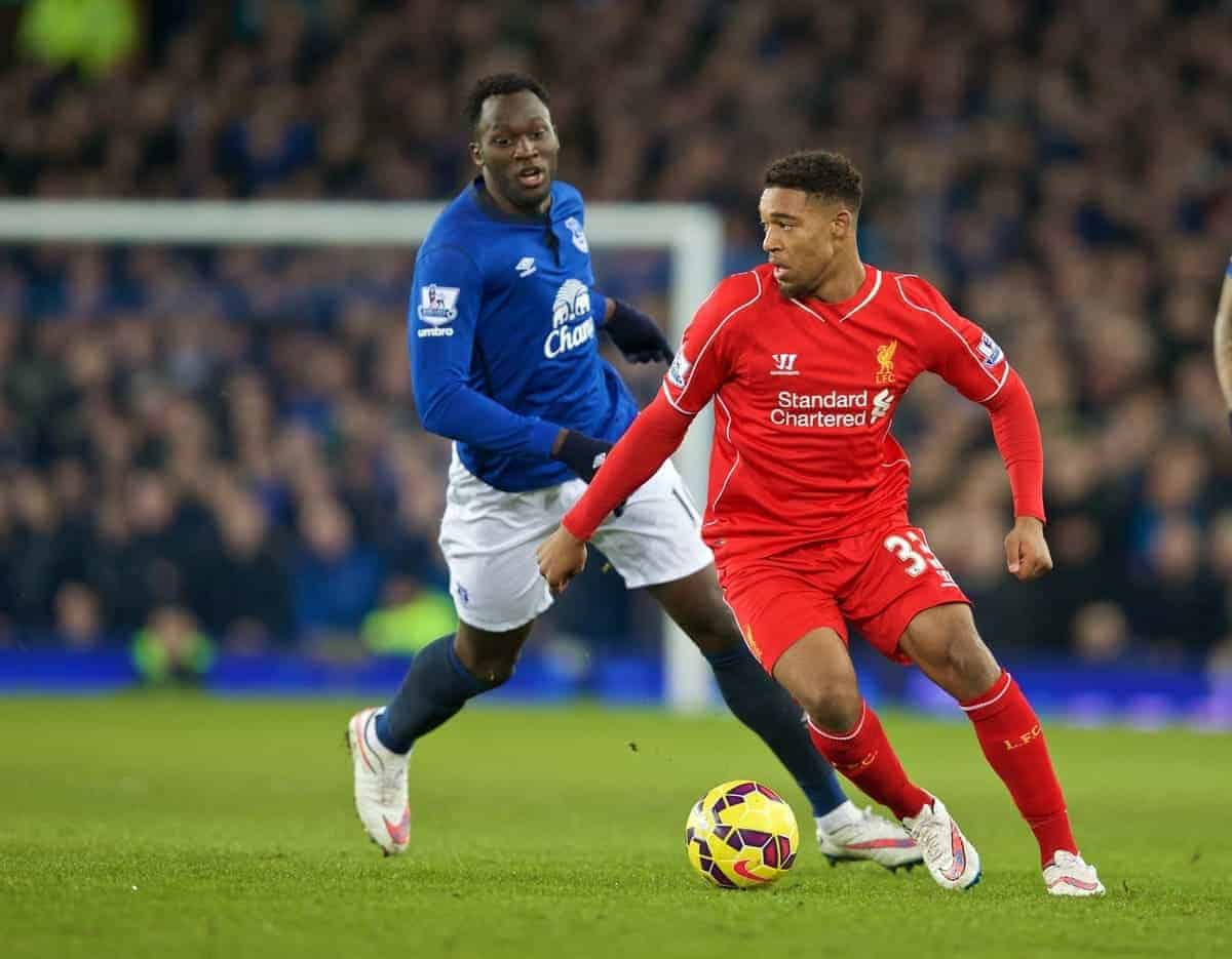 LIVERPOOL, ENGLAND - Friday, February 6, 2015: Liverpool's Jordon Ibe in action against Everton during the Premier League match at Goodison Park, the 224th Merseyside Derby. (Pic by David Rawcliffe/Propaganda)