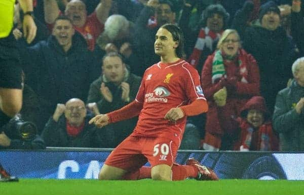 LIVERPOOL, ENGLAND - Tuesday, February 10, 2015: Liverpool's Lazar Markovic celebrates scoring the first goal against Tottenham Hotspur during the Premier League match at Anfield. (Pic by David Rawcliffe/Propaganda)