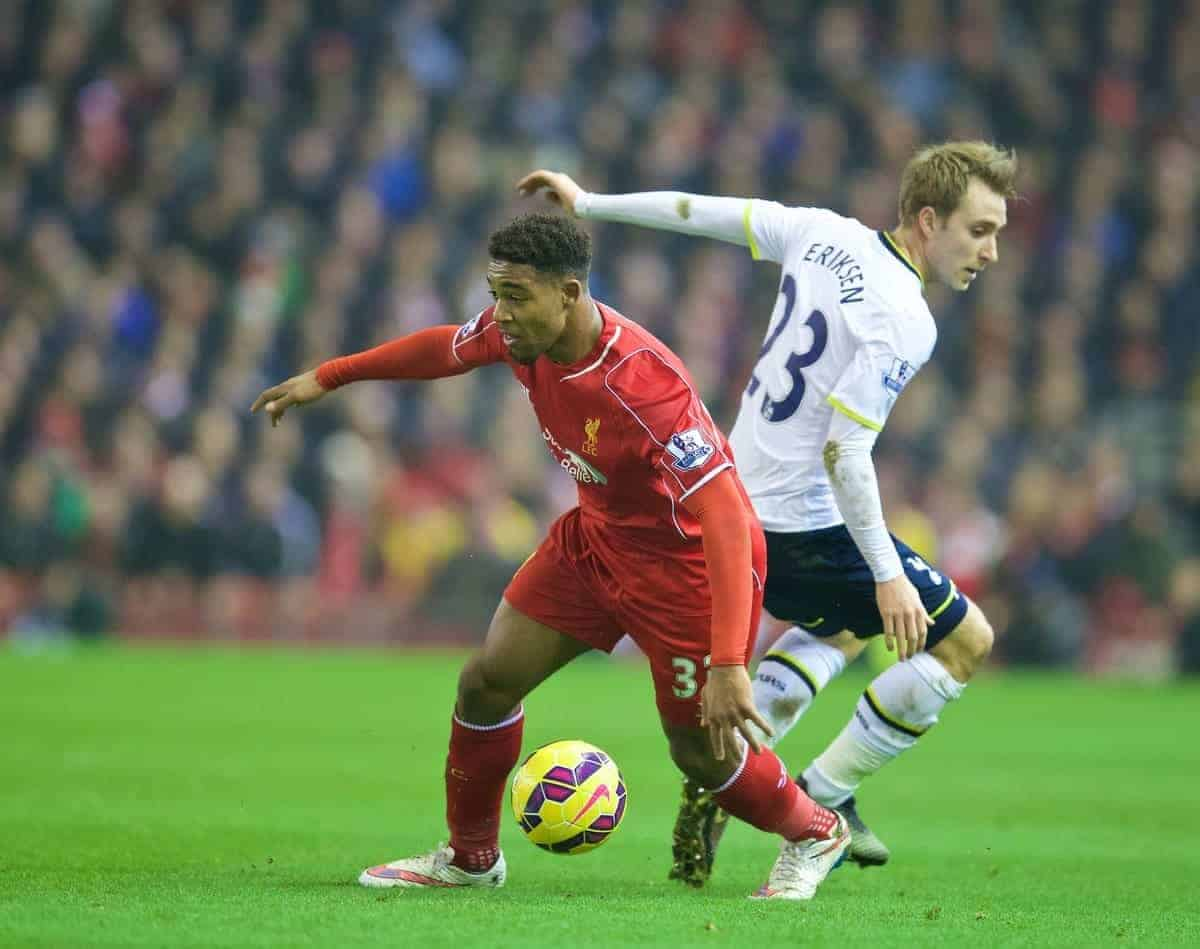 LIVERPOOL, ENGLAND - Tuesday, February 10, 2015: Liverpool's Jordon Ibe in action against Tottenham Hotspur during the Premier League match at Anfield. (Pic by David Rawcliffe/Propaganda)
