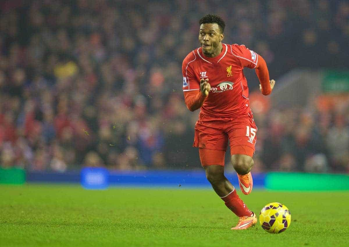 LIVERPOOL, ENGLAND - Tuesday, February 10, 2015: Liverpool's Daniel Sturridge in action against Tottenham Hotspur during the Premier League match at Anfield. (Pic by David Rawcliffe/Propaganda)