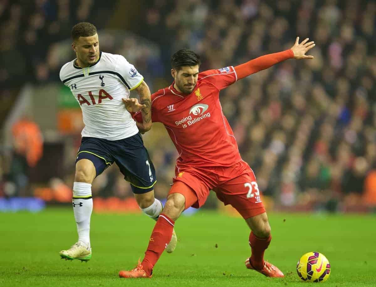 LIVERPOOL, ENGLAND - Tuesday, February 10, 2015: Liverpool's Emre Can in action against Tottenham Hotspur's Kyle Walker during the Premier League match at Anfield. (Pic by David Rawcliffe/Propaganda)