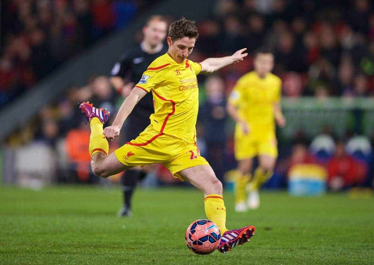 LONDON, ENGLAND - Saturday, February 14, 2015: Liverpool's Joe Allen in action against Crystal Palace during the FA Cup 5th Round match at Selhurst Park. (Pic by David Rawcliffe/Propaganda)