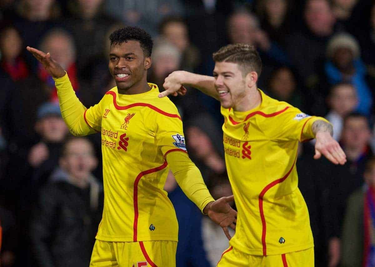 LONDON, ENGLAND - Saturday, February 14, 2015: Liverpool's Daniel Sturridge celebrates scoring the first goal against Crystal Palace with team-mate Alberto Moreno during the FA Cup 5th Round match at Selhurst Park. (Pic by David Rawcliffe/Propaganda)