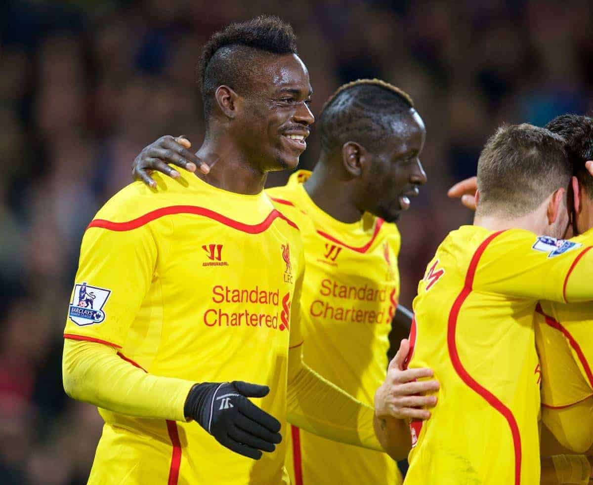 LONDON, ENGLAND - Saturday, February 14, 2015: Liverpool's Mario Balotelli celebrates after the second goal against Crystal Palace during the FA Cup 5th Round match at Selhurst Park. (Pic by David Rawcliffe/Propaganda)