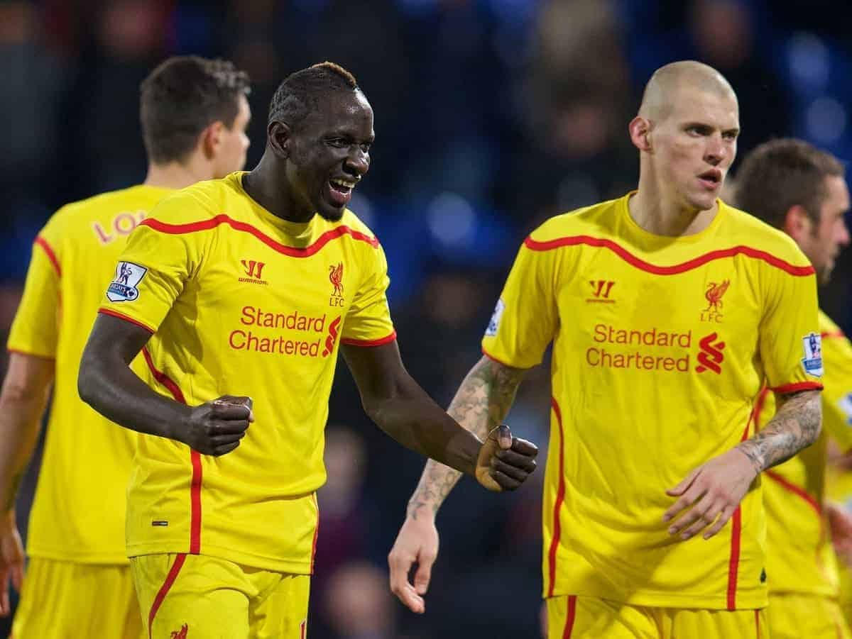 LONDON, ENGLAND - Saturday, February 14, 2015: Liverpool's Mamadou Sakho celebrates after the 2-1 victory over Crystal Palace during the FA Cup 5th Round match at Selhurst Park. (Pic by David Rawcliffe/Propaganda)