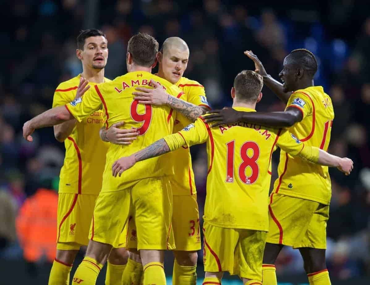 LONDON, ENGLAND - Saturday, February 14, 2015: Liverpool's Dejan Lovren, Rickie Lambert, Martin Skrtel, Alberto Moreno and Mamadou Sakho celebrate after the 2-1 victory over Crystal Palace during the FA Cup 5th Round match at Selhurst Park. (Pic by David Rawcliffe/Propaganda)