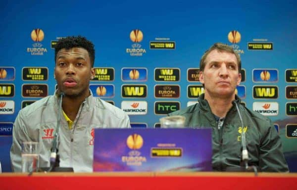 LIVERPOOL, ENGLAND - Wednesday, February 18, 2015: Liverpool's Daniel Sturridge and manager Brendan Rodgers during a press conference ahead of the UEFA Europa League Round of 32 1st leg match against Besiktas JK at Anfield. (Pic by David Rawcliffe/Propaganda)