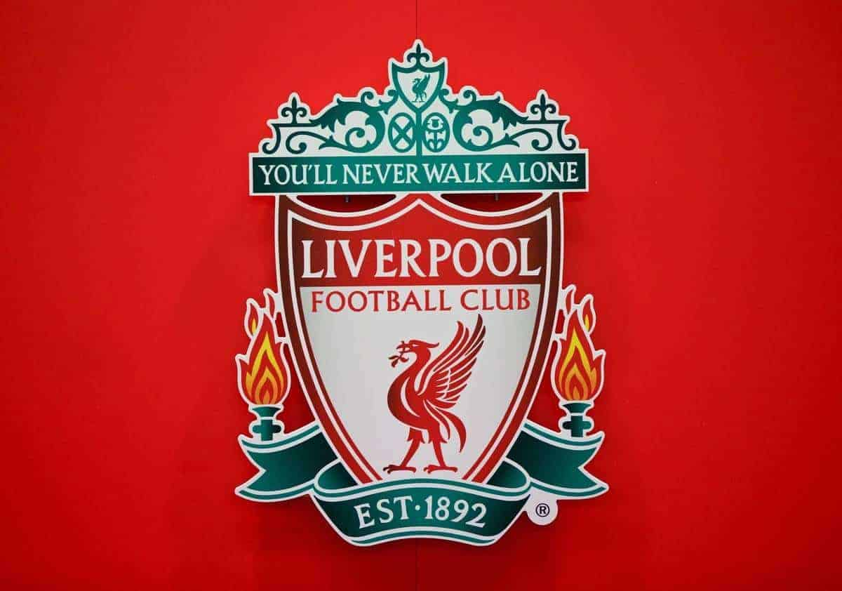 LIVERPOOL, ENGLAND - Wednesday, February 18, 2015: The Liverpool FC badge during a press conference ahead of the UEFA Europa League Round of 32 1st leg match against Besiktas JK at Anfield. (Pic by David Rawcliffe/Propaganda) (General Pic)