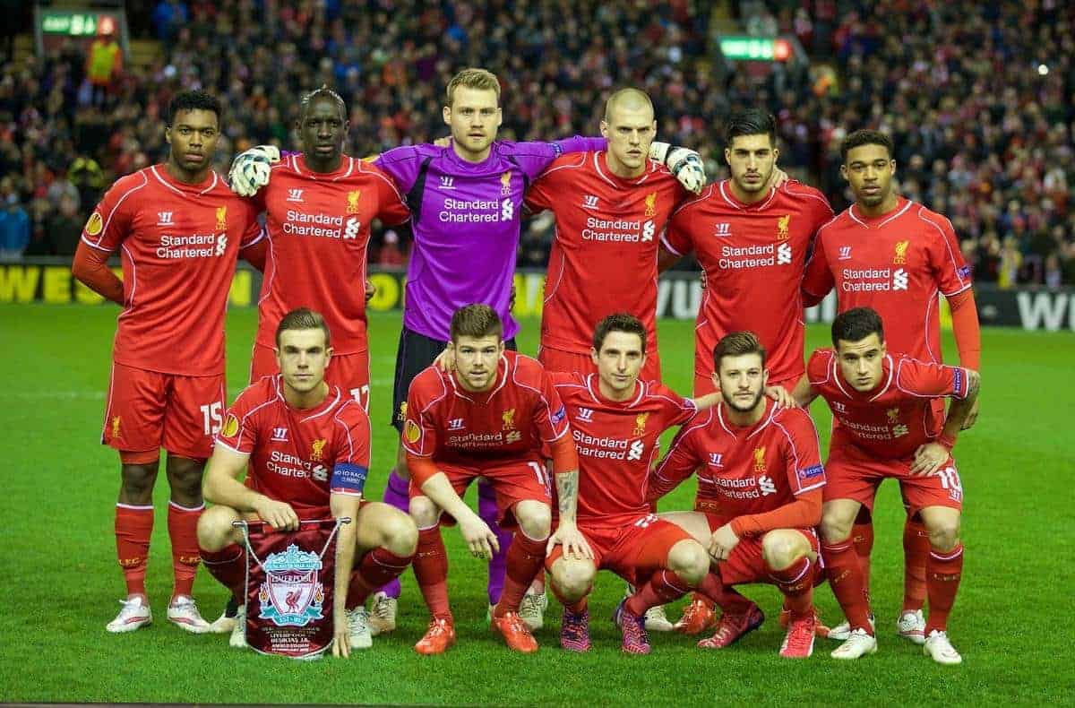 LIVERPOOL, ENGLAND - Thursday, February 19, 2015: Liverpool's players line up for a team group photograph before the UEFA Europa League Round of 32 1st Leg match against Besiktas JK at Anfield. Front row L-R: Daniel Sturridge, Mamadou Sakho, goalkeeper Simon Mignolet, Martin Skrtel, Emre Can, Jordon Ibe. Front row L-R: Jordan Henderson, Alberto Moreno, Joe Allen, goalkeeper Simon Mignolet, Philippe Coutinho Correia. (Pic by David Rawcliffe/Propaganda)