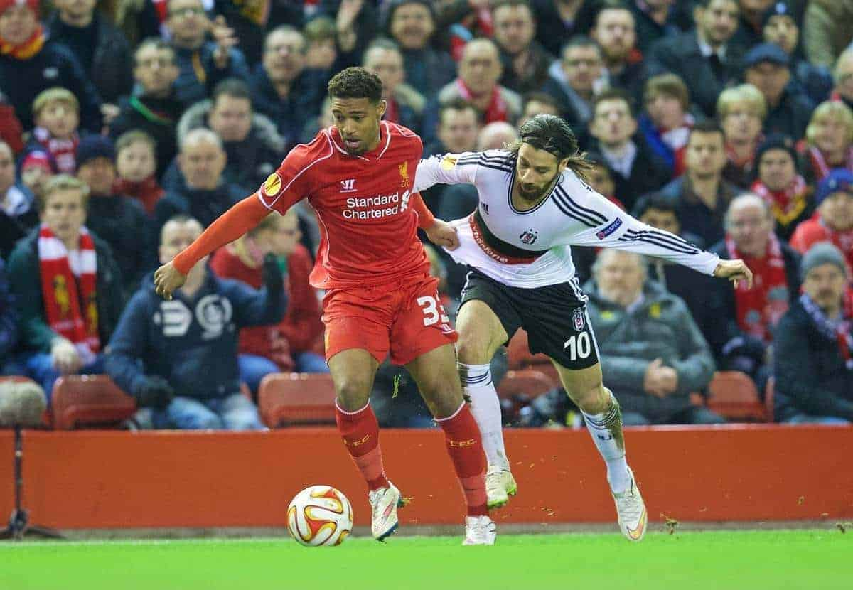 LIVERPOOL, ENGLAND - Thursday, February 19, 2015: Liverpool's Jordon Ibe in action against Besiktas JK's Olcay Sahan during the UEFA Europa League Round of 32 1st Leg match at Anfield. (Pic by David Rawcliffe/Propaganda)