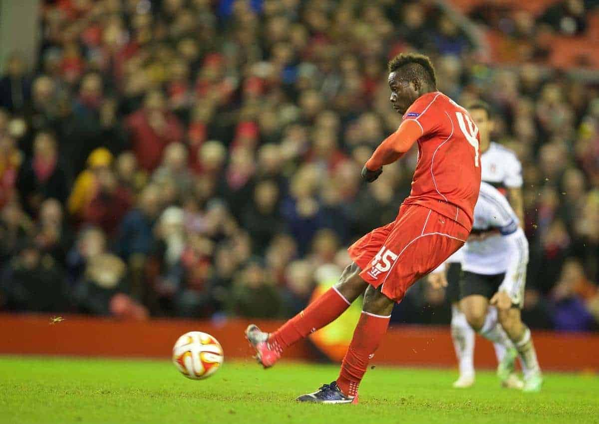 LIVERPOOL, ENGLAND - Thursday, February 19, 2015: Liverpool's Mario Balotelli scores the first goal against Besiktas JK from the penalty spot during the UEFA Europa League Round of 32 1st Leg match at Anfield. (Pic by David Rawcliffe/Propaganda)