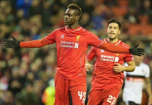 LIVERPOOL, ENGLAND - Thursday, February 19, 2015: Liverpool's Mario Balotelli celebrates scoring the first goal against Besiktas JK from the penalty spot during the UEFA Europa League Round of 32 1st Leg match at Anfield. (Pic by David Rawcliffe/Propaganda)