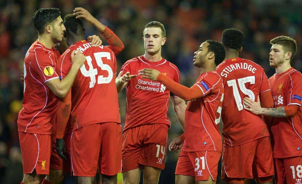 LIVERPOOL, ENGLAND - Thursday, February 19, 2015: Liverpool's captain Jordan Henderson shakes hands with Mario Balotelli as he celebrates scoring the winning goal against Besiktas JK from the penalty spot during the UEFA Europa League Round of 32 1st Leg match at Anfield. (Pic by David Rawcliffe/Propaganda)