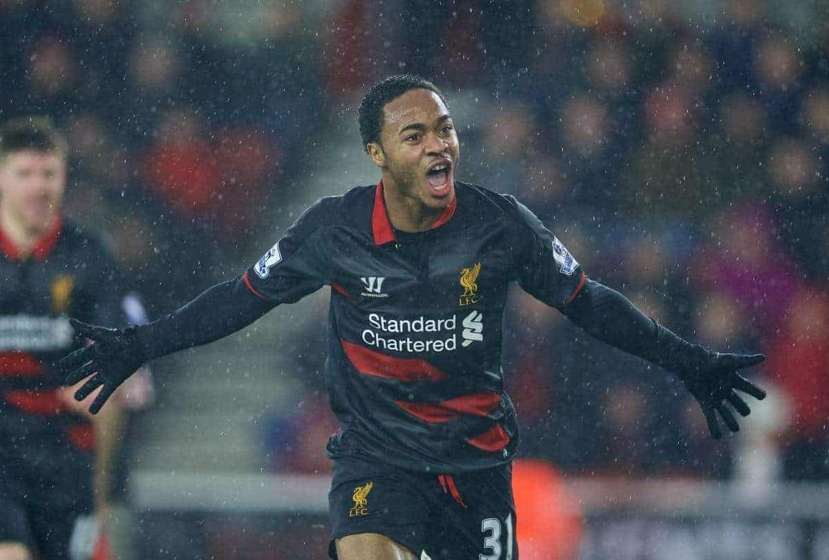 SOUTHAMPTON, ENGLAND - Sunday, February 22, 2015: Liverpool's Raheem Sterling celebrates scoring the second goal against Southampton during the FA Premier League match at St Mary's Stadium. (Pic by David Rawcliffe/Propaganda)