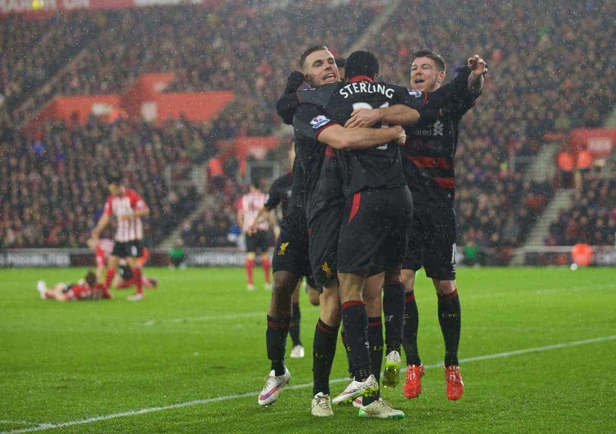 SOUTHAMPTON, ENGLAND - Sunday, February 22, 2015: Liverpool's Raheem Sterling celebrates scoring the second goal against Southampton with team-mates Jordan Henderson and Alberto Moreno during the FA Premier League match at St Mary's Stadium. (Pic by David Rawcliffe/Propaganda)