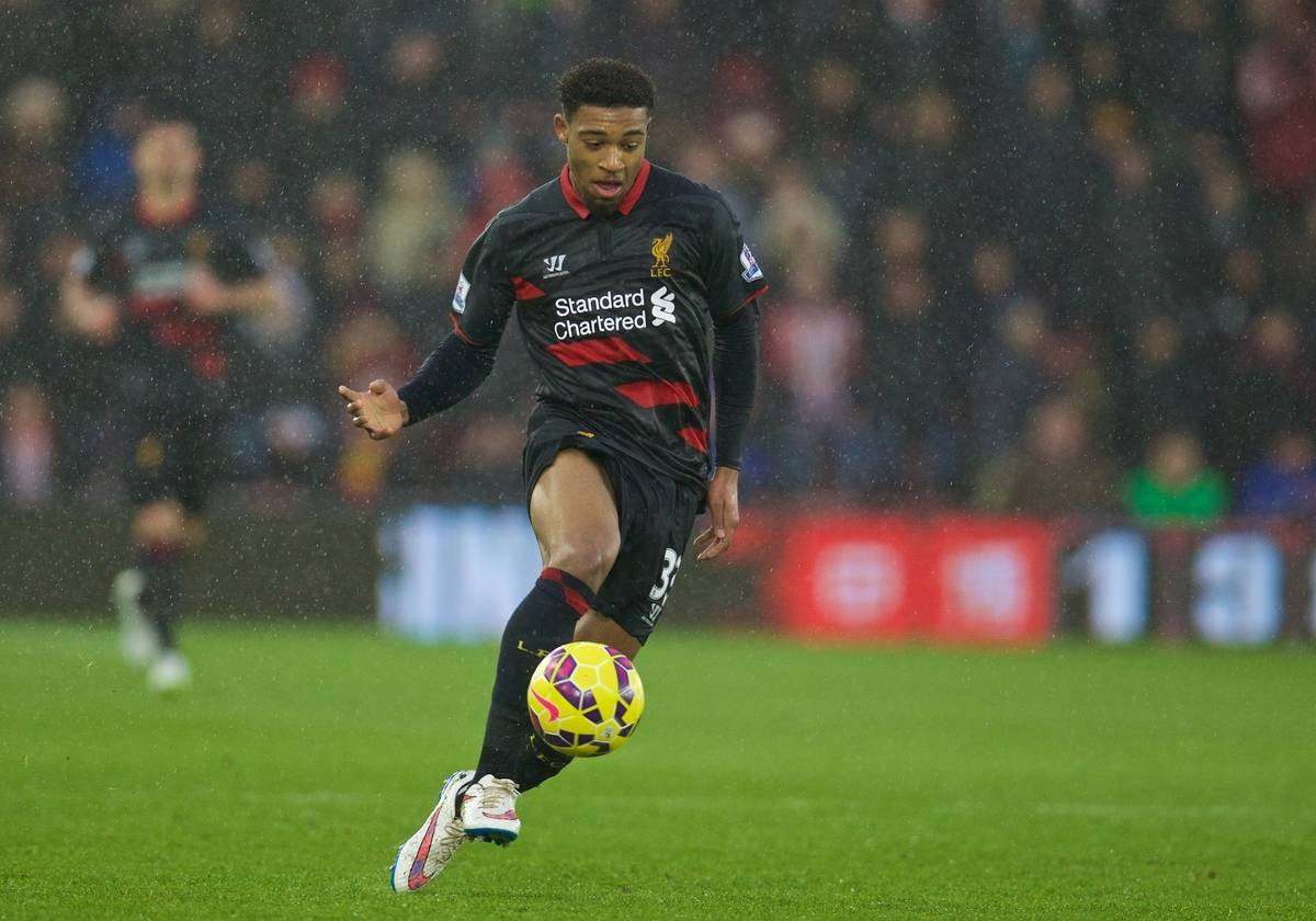 SOUTHAMPTON, ENGLAND - Sunday, February 22, 2015: Liverpool's Jordon Ibe in action against Southampton during the FA Premier League match at St Mary's Stadium. (Pic by David Rawcliffe/Propaganda)
