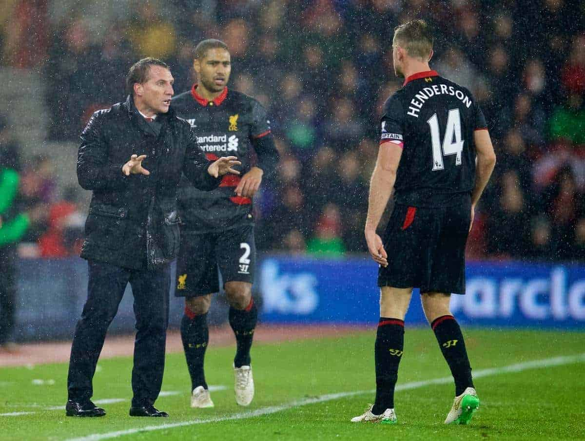 SOUTHAMPTON, ENGLAND - Sunday, February 22, 2015: Liverpool's manager Brendan Rodgers issues instructions to captain Jordan Henderson during the FA Premier League match against Southampton at St Mary's Stadium. (Pic by David Rawcliffe/Propaganda)