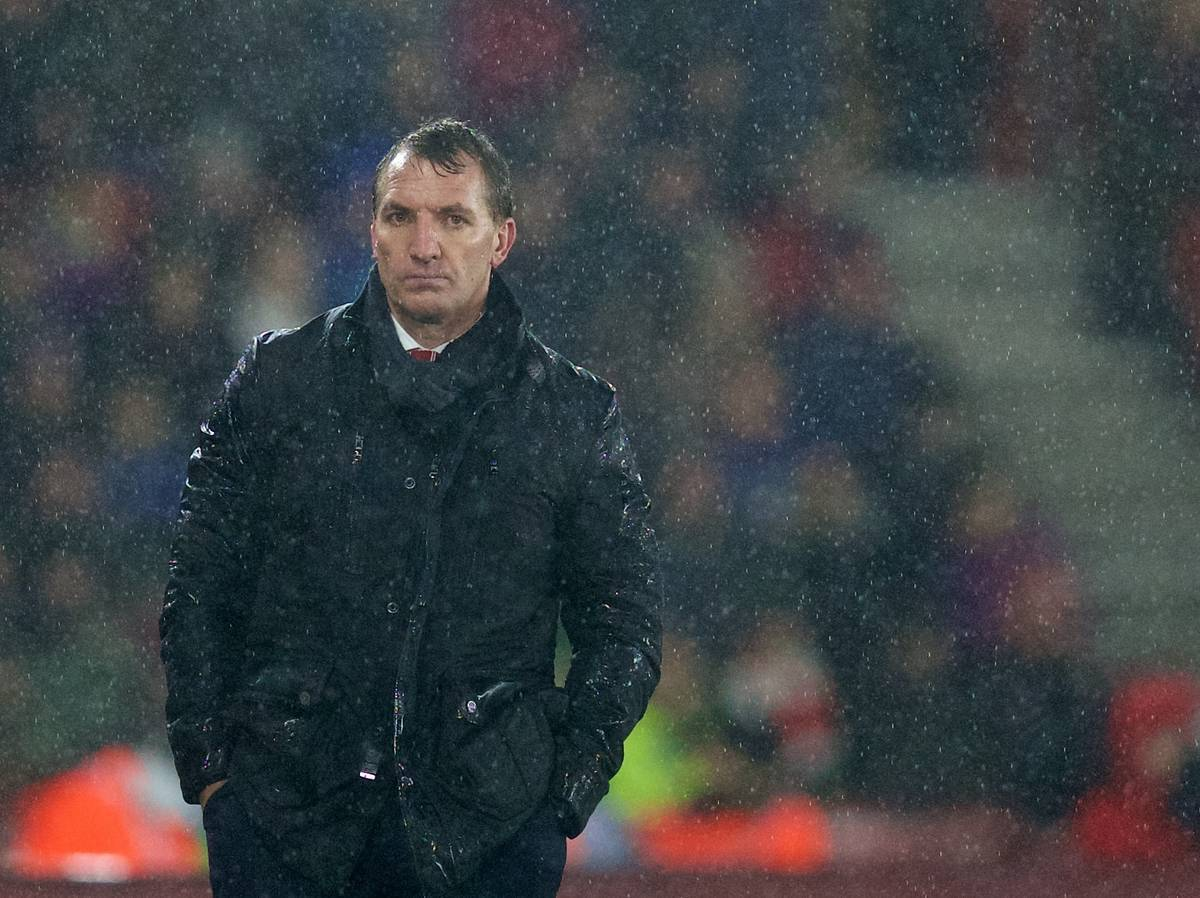 SOUTHAMPTON, ENGLAND - Sunday, February 22, 2015: Liverpool's manager Brendan Rodgers in the rain during the FA Premier League match against Southampton at St Mary's Stadium. (Pic by David Rawcliffe/Propaganda)