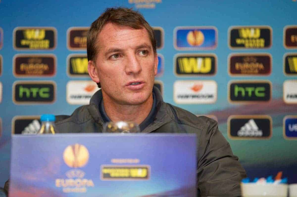 ISTANBUL, TURKEY - Wednesday, February 25, 2015: Liverpool's manager Brendan Rodgers during a press conference at the Sabiha Gokcen Airport Hotel ahead of the UEFA Europa League Round of 32 2nd Leg match against Besiktas JK. (Pic by David Rawcliffe/Propaganda)