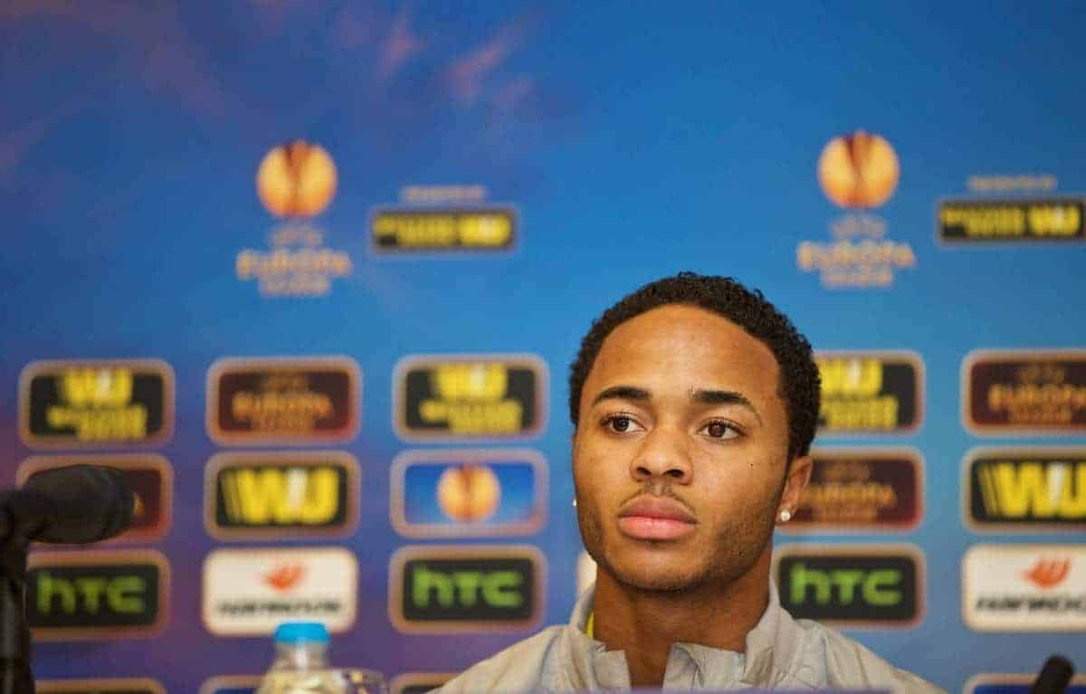 ISTANBUL, TURKEY - Wednesday, February 25, 2015: Liverpool's Raheem Sterling during a press conference at the Sabiha Gokcen Airport Hotel ahead of the UEFA Europa League Round of 32 2nd Leg match against Besiktas JK. (Pic by David Rawcliffe/Propaganda)