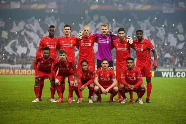ISTANBUL, TURKEY - Thursday, February 26, 2015: Liverpool's players line up for a team group photograph before the UEFA Europa League Round of 32 2nd Leg match against Besiktas JK at the Ataturk Olympic Stadium. Back row L-R: Mario Balotelli, Dejan Lovren, Martin Skrtel, goalkeeper Simon Mignolet, Emre Can, Kolo Toure. Front row L-R: Daniel Sturridge, Alberto Moreno, Raheem Sterling, Joe Allen, Jordon Ibe. (Pic by David Rawcliffe/Propaganda)