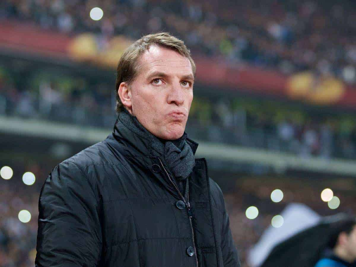ISTANBUL, TURKEY - Thursday, February 26, 2015: Liverpool's manager Brendan Rodgers before the UEFA Europa League Round of 32 2nd Leg match against Besiktas JK at the Ataturk Olympic Stadium. (Pic by David Rawcliffe/Propaganda)