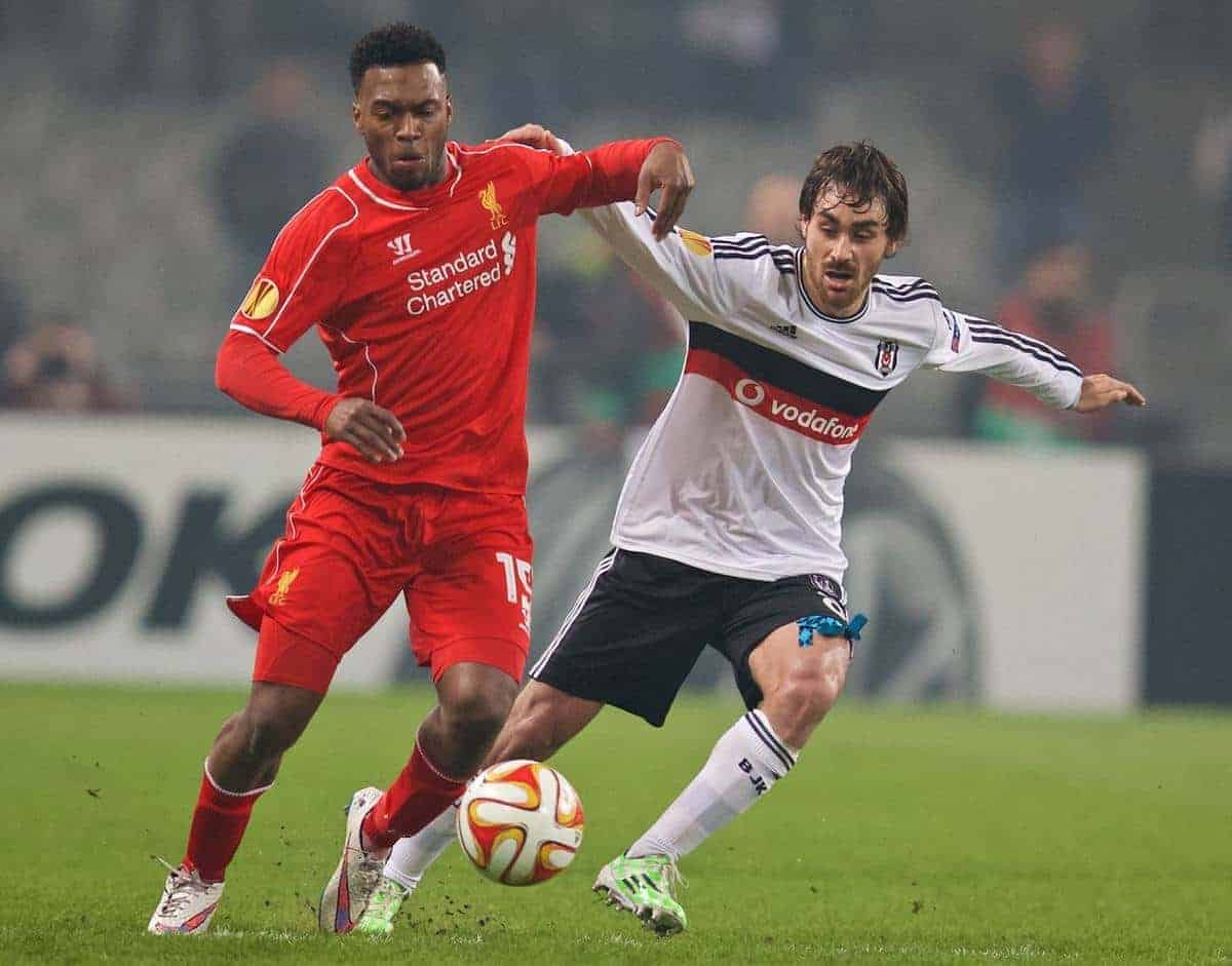 ISTANBUL, TURKEY - Thursday, February 26, 2015: Liverpool's Daniel Sturridge in action against Besiktas JK's Veli Kavlak during the UEFA Europa League Round of 32 2nd Leg match at the Ataturk Olympic Stadium. (Pic by David Rawcliffe/Propaganda)