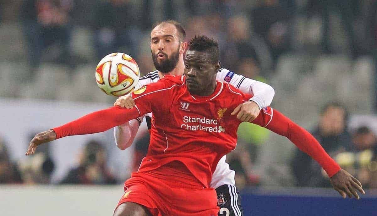 ISTANBUL, TURKEY - Thursday, February 26, 2015: Liverpool's Mario Balotelli in action against Besiktas JK's Serdar Kurtulus during the UEFA Europa League Round of 32 2nd Leg match at the Ataturk Olympic Stadium. (Pic by David Rawcliffe/Propaganda)