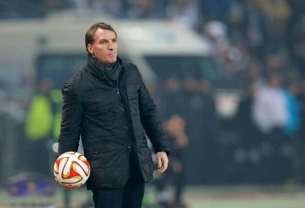 ISTANBUL, TURKEY - Thursday, February 26, 2015: Liverpool's manager Brendan Rodgers during the UEFA Europa League Round of 32 2nd Leg match against Besiktas JK at the Ataturk Olympic Stadium. (Pic by David Rawcliffe/Propaganda)