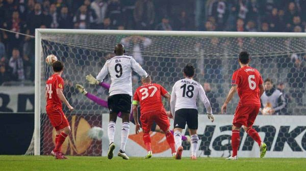 ISTANBUL, TURKEY - Thursday, February 26, 2015: Besiktas JK's Tolgay Ali Arslan scores the first goal against Liverpool during the UEFA Europa League Round of 32 2nd Leg match at the Ataturk Olympic Stadium. (Pic by David Rawcliffe/Propaganda)