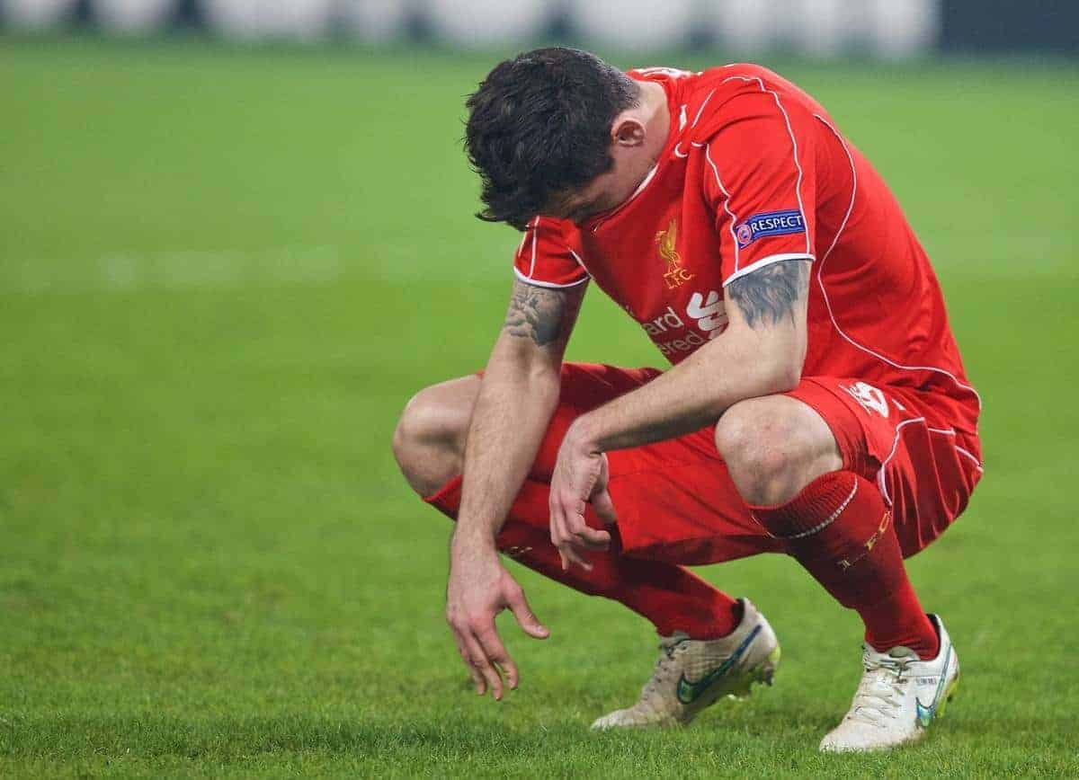 Liverpool's Dejan Lovren looks dejected after missing the vital fifth penalty against Besiktas JK in the shoot-out after a 1-1 aggregate draw during the UEFA Europa League Round of 32 2nd Leg match at the Ataturk Olympic Stadium. (Pic by David Rawcliffe/Propaganda)