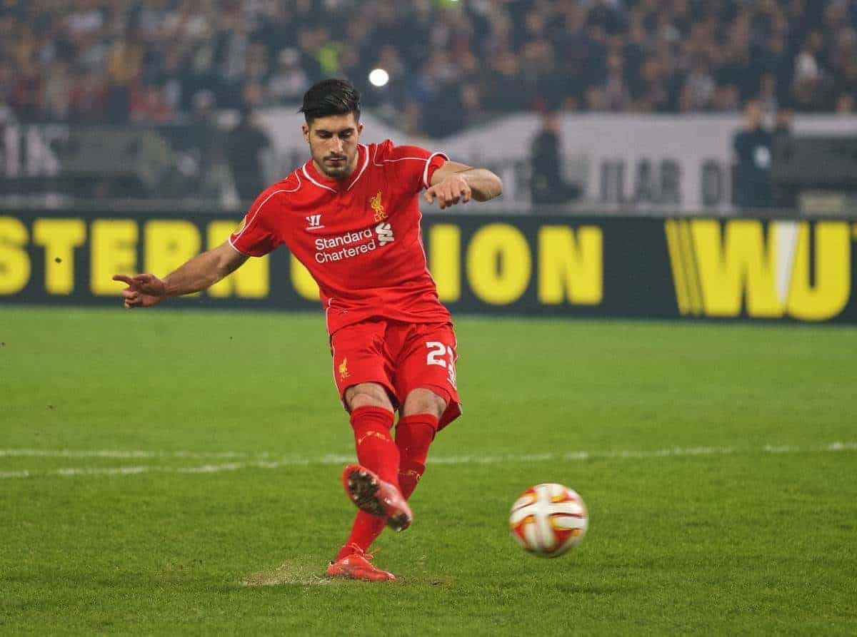 ISTANBUL, TURKEY - Thursday, February 26, 2015: Liverpool's Emre Can scores his side's second penalty goal of the shoot-out against Besiktas JK during the UEFA Europa League Round of 32 2nd Leg match at the Ataturk Olympic Stadium. (Pic by David Rawcliffe/Propaganda)