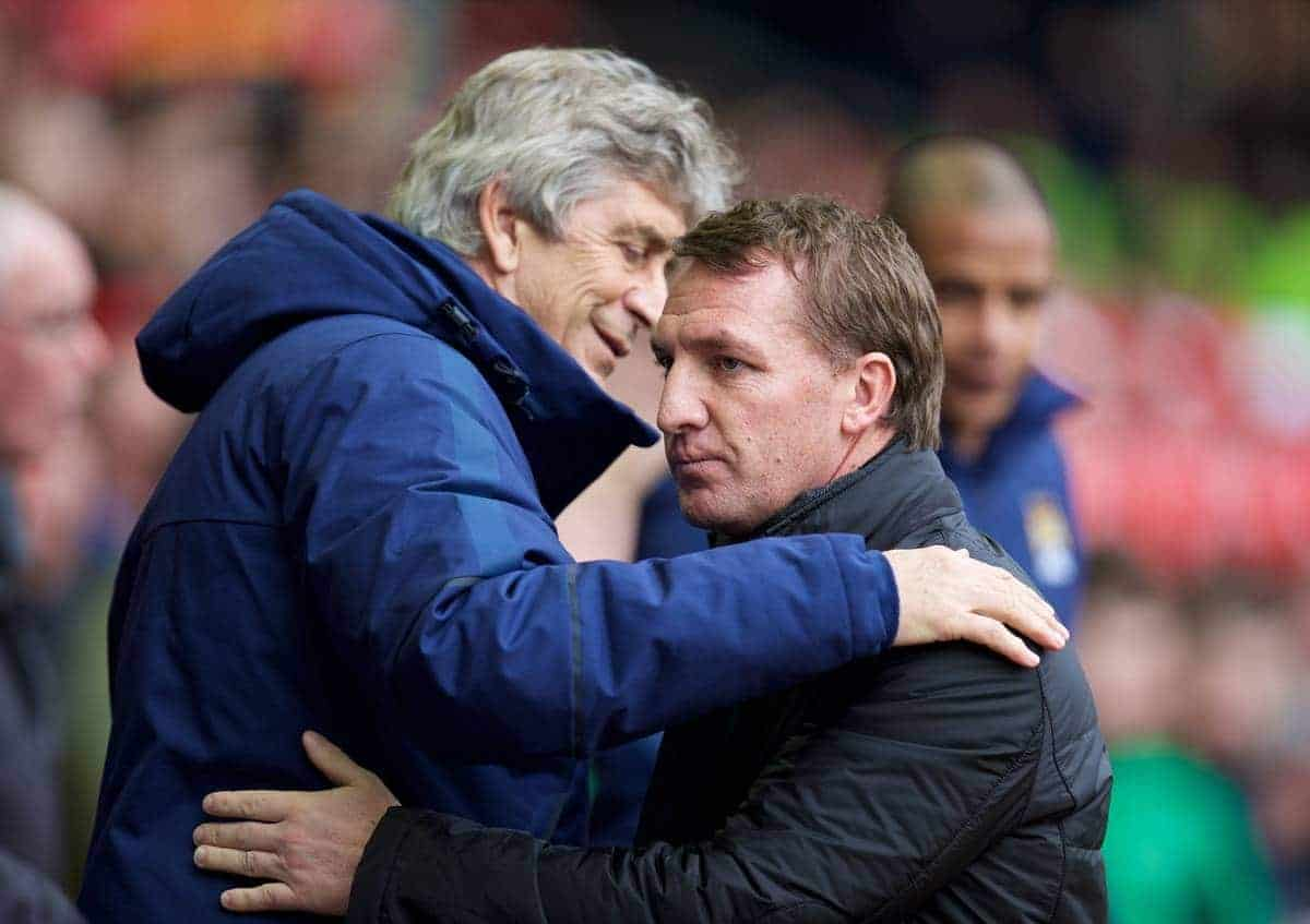 LIVERPOOL, ENGLAND - Sunday, March 1, 2015: Liverpool's manager Brendan Rodgers and Manchester City's manager Manuel Pellegrini before the Premier League match at Anfield. (Pic by David Rawcliffe/Propaganda)