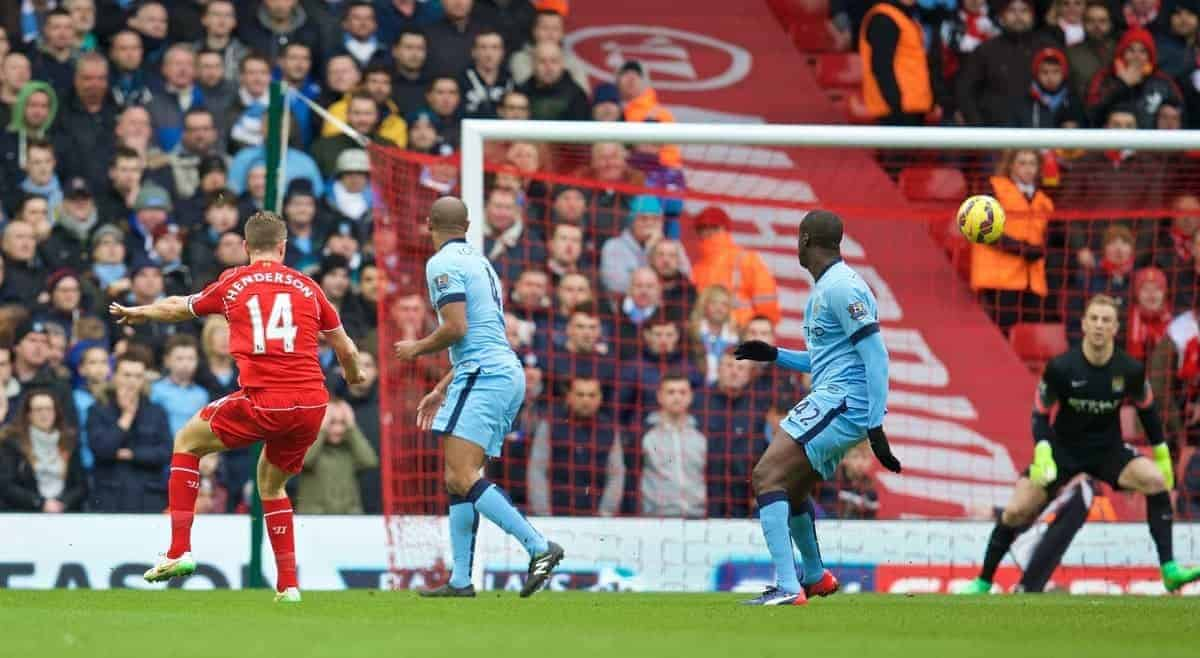LIVERPOOL, ENGLAND - Sunday, March 1, 2015: Liverpool's captain Jordan Henderson scores the first goal against Manchester City during the Premier League match at Anfield. (Pic by David Rawcliffe/Propaganda)