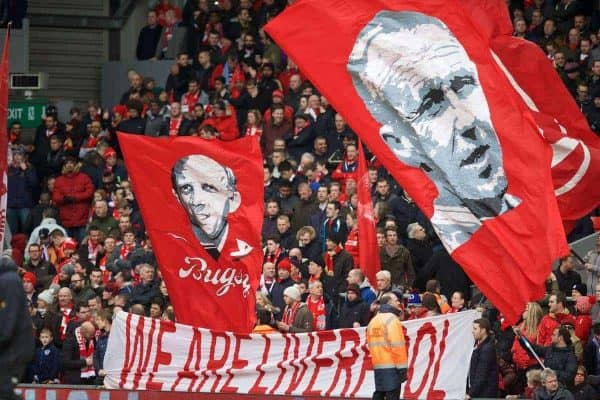 LIVERPOOL, ENGLAND - Sunday, March 1, 2015: Liverpool supporters' banners of Bill Shankly and Ronnie Moran in action against Manchester City during the Premier League match at Anfield. (Pic by David Rawcliffe/Propaganda) [general pic]