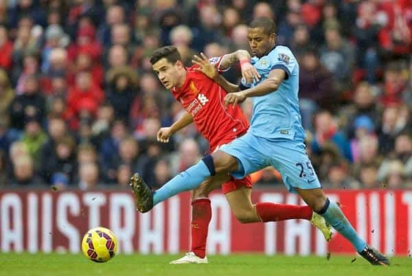 LIVERPOOL, ENGLAND - Sunday, March 1, 2015: Liverpool's Philippe Coutinho Correia in action against Manchester City's Fernando Luiz Roza 'Fernandinho' during the Premier League match at Anfield. (Pic by David Rawcliffe/Propaganda)