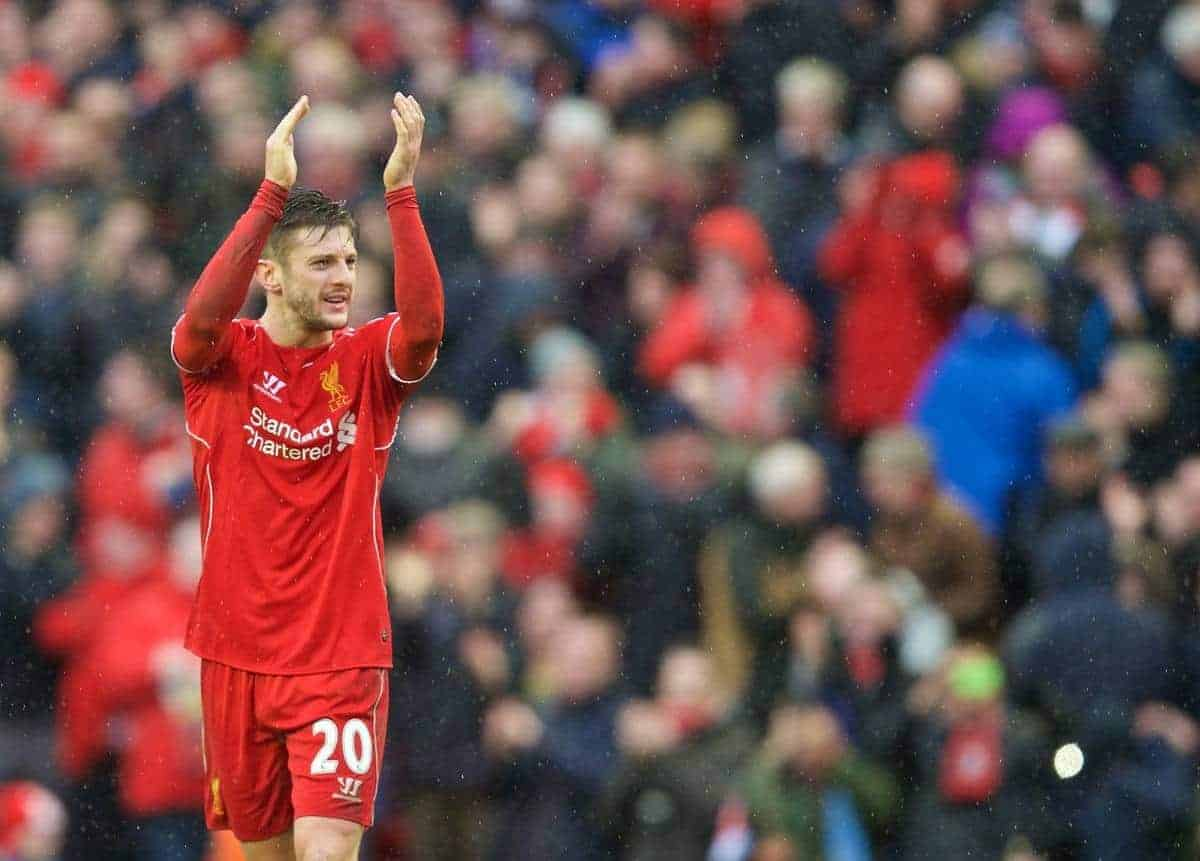 LIVERPOOL, ENGLAND - Sunday, March 1, 2015: Liverpool's Adam Lallana celebrates his side's 2-1 victory over Manchester City during the Premier League match at Anfield. (Pic by David Rawcliffe/Propaganda)