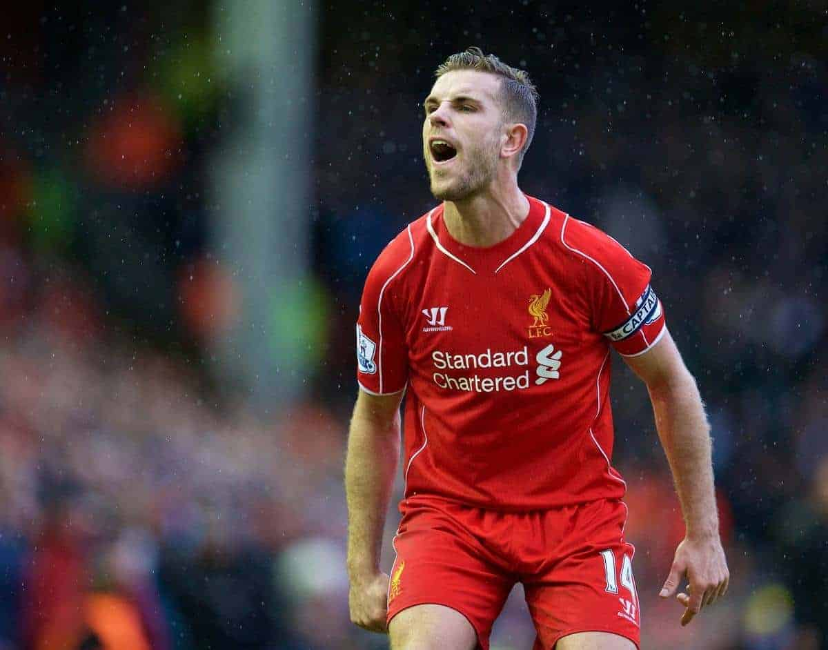 LIVERPOOL, ENGLAND - Sunday, March 1, 2015: Liverpool's captain Jordan Henderson in action against Manchester City during the Premier League match at Anfield. (Pic by David Rawcliffe/Propaganda)
