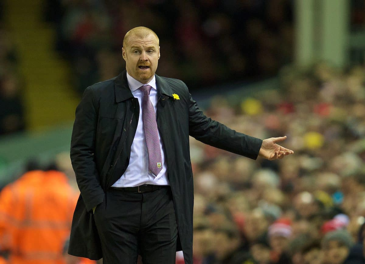 LIVERPOOL, ENGLAND - Wednesday, March 4, 2015: Burnley's manager Sean Dyche during the Premier League match against Liverpool at Anfield. (Pic by David Rawcliffe/Propaganda)