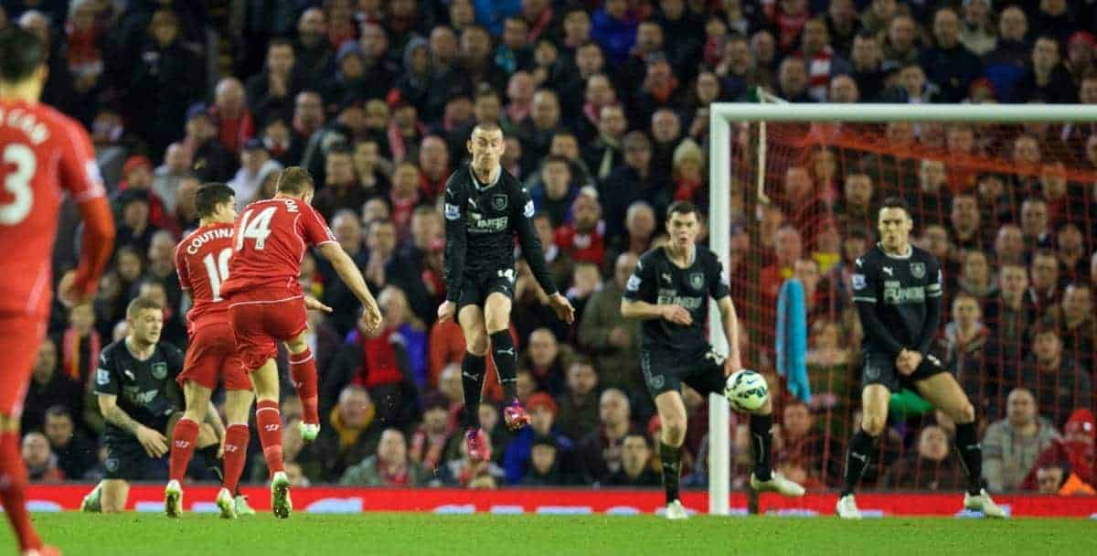LIVERPOOL, ENGLAND - Wednesday, March 4, 2015: Liverpool's captain Jordan Henderson scores the first goal against Burnley during the Premier League match at Anfield. (Pic by David Rawcliffe/Propaganda)