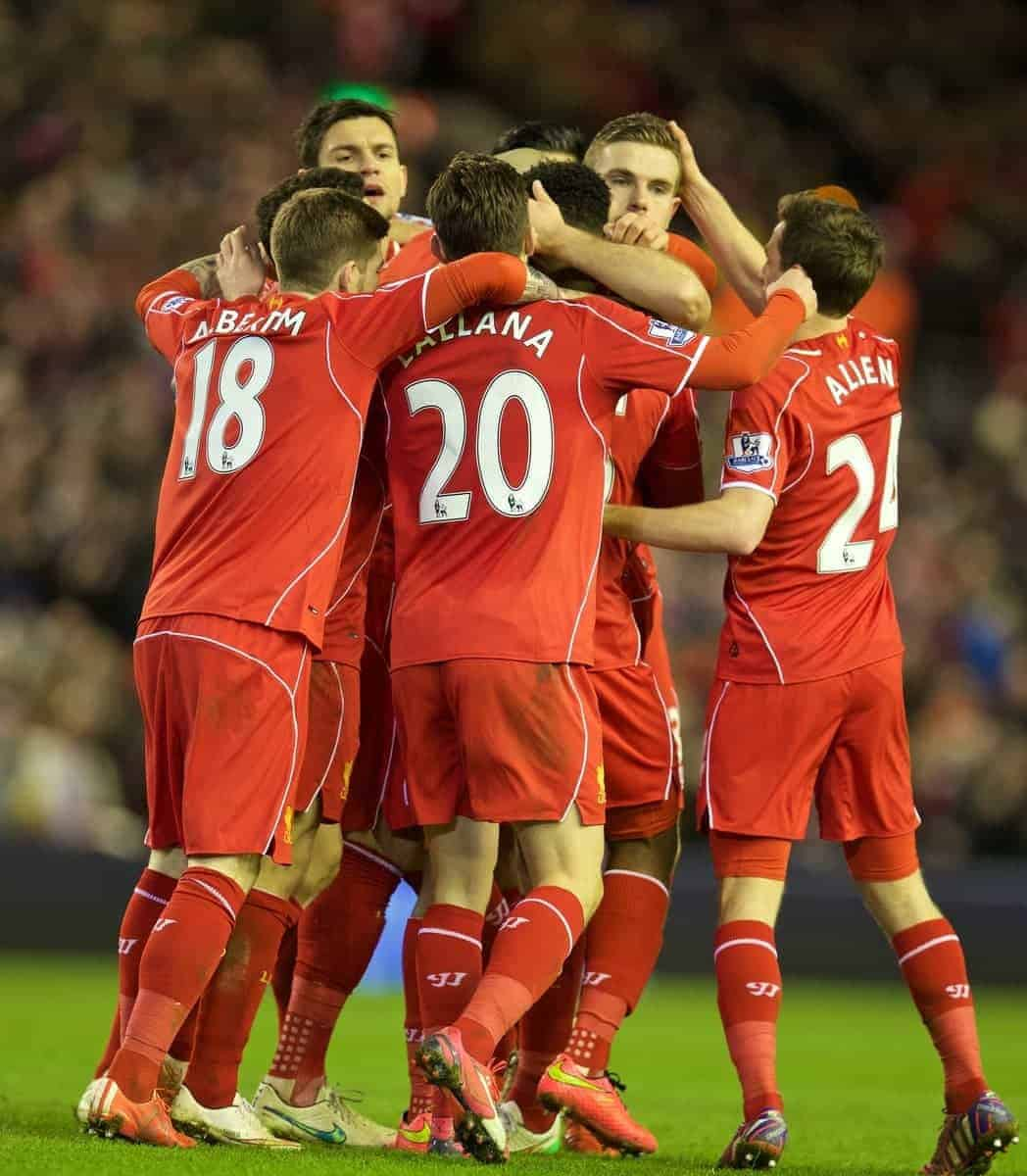 LIVERPOOL, ENGLAND - Wednesday, March 4, 2015: Liverpool's celebrates scoring the second goal against Burnley during the Premier League match at Anfield. (Pic by David Rawcliffe/Propaganda)