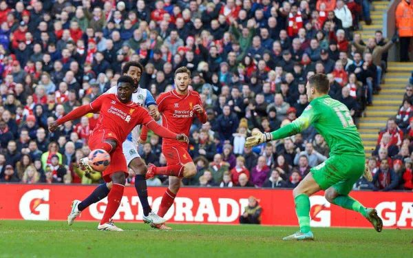 LIVERPOOL, ENGLAND - Sunday, March 8, 2015: Liverpool's Kolo Toure sees his goal disallowed for offside against Blackburn Rovers during the FA Cup 6th Round Quarter-Final match at Anfield. (Pic by David Rawcliffe/Propaganda)